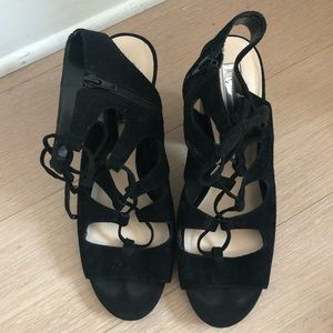 INC Women's Black Lace Up Block Heel